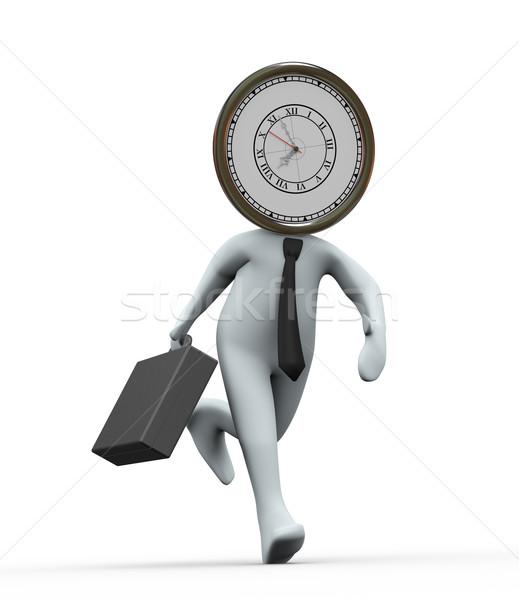 3d clock head businessman running Stock photo © ribah