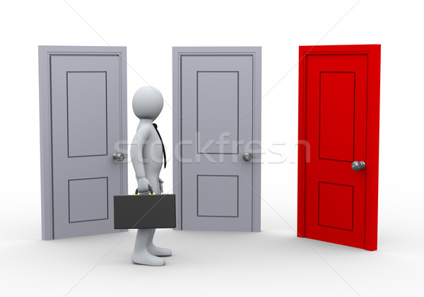 Stock photo: 3d man and three doors