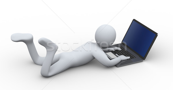 3d person working on laptop Stock photo © ribah