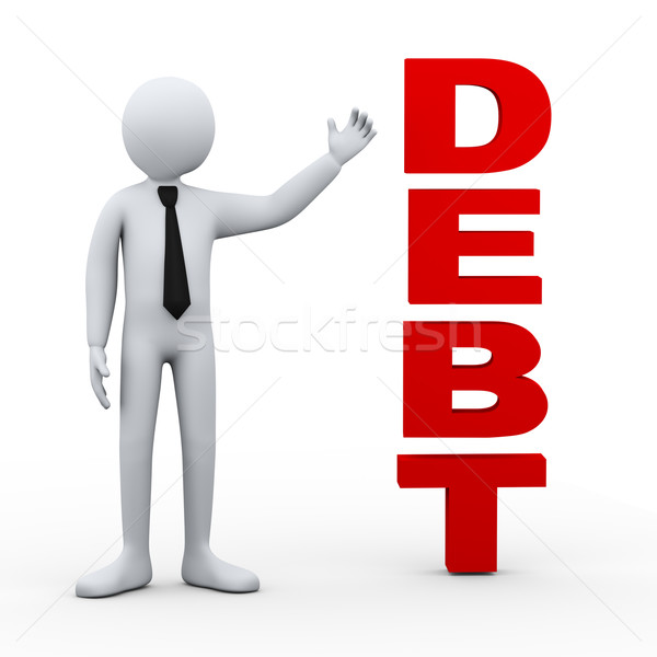 3d man debt word presentation Stock photo © ribah