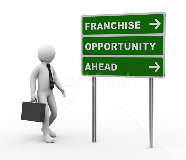 Stock photo: 3d businessman franchise opportunities roadsign