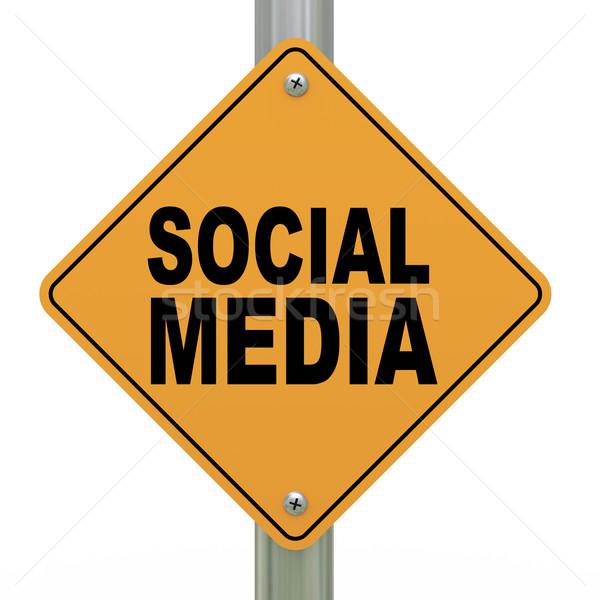 3d road sign social media Stock photo © ribah