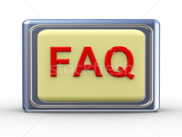 Freqüentemente pergunta ilustração 3d brilhante faq botão Foto stock © ribah