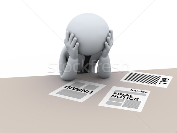 3d frustrated business man Stock photo © ribah