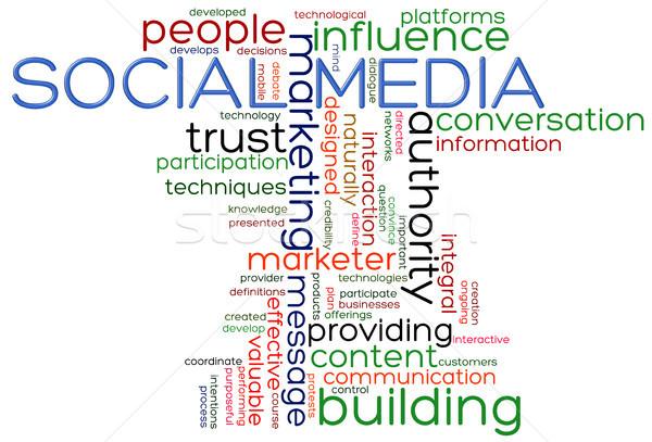 Stockfoto: Social · media · woorden · illustratie · internet