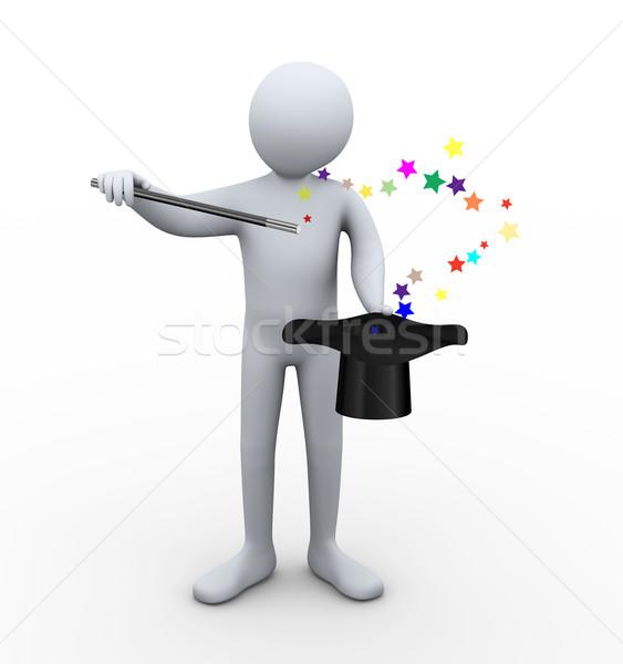 3次元の男 マジシャン 帽子 3次元の図 手品 ストックフォト © ribah