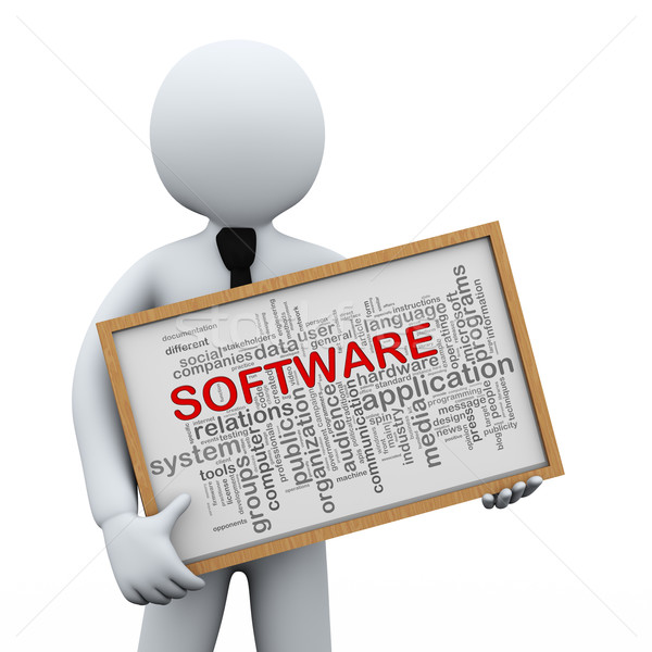 3d businessman holding software wordcloud Stock photo © ribah