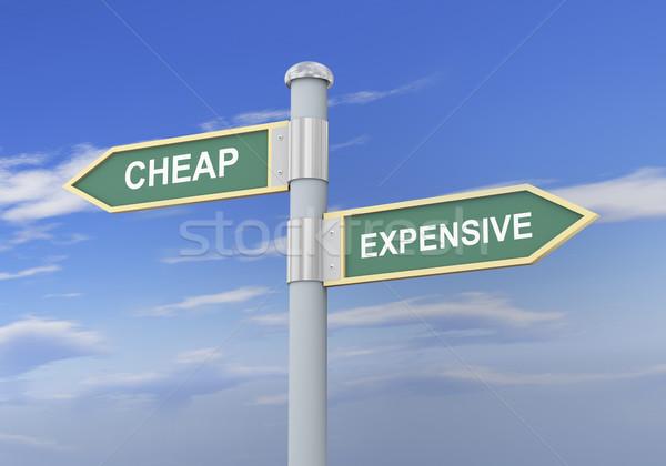 3D a buon mercato costoso cartello stradale illustrazione 3d Foto d'archivio © ribah