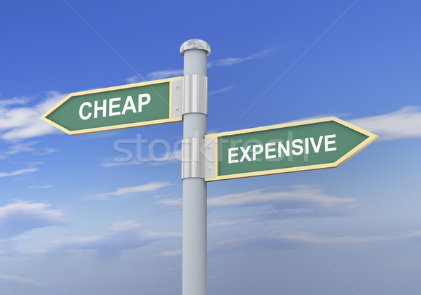 3d cheap expensive road sign Stock photo © ribah