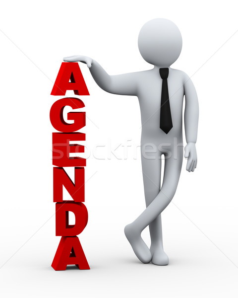 3d businessman with word agenda Stock photo © ribah