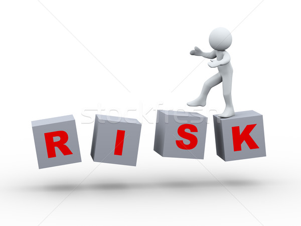 3d person walking on risk cube Stock photo © ribah
