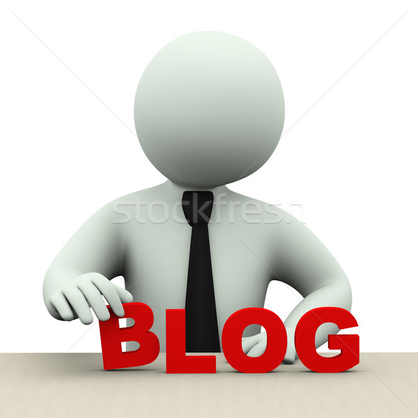 3d business man with word blog Stock photo © ribah