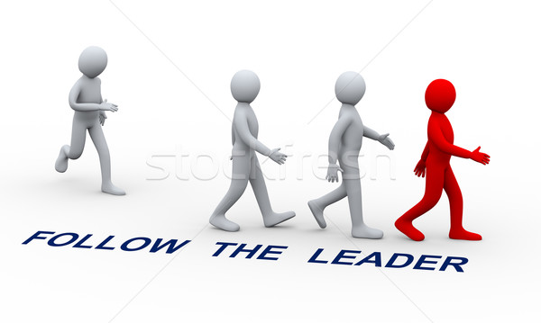 3d people following leader Stock photo © ribah