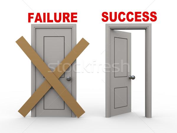 3D Ausfall Erfolg Türen 3D-Darstellung geschlossen Stock foto © ribah