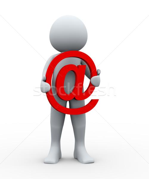 Foto stock: Pessoa · 3d · e-mail · assinar · ilustração · 3d · homem