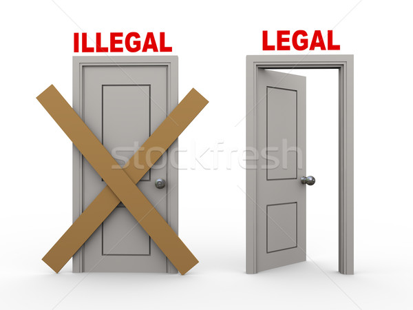 3d illegal and legal doors Stock photo © ribah