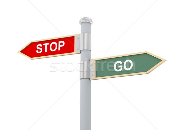 3d stop go road sign Stock photo © ribah