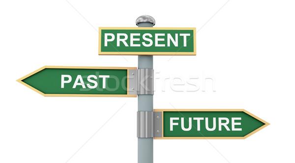 Cartello stradale passato presenti futuro illustrazione 3d segnaletica stradale Foto d'archivio © ribah