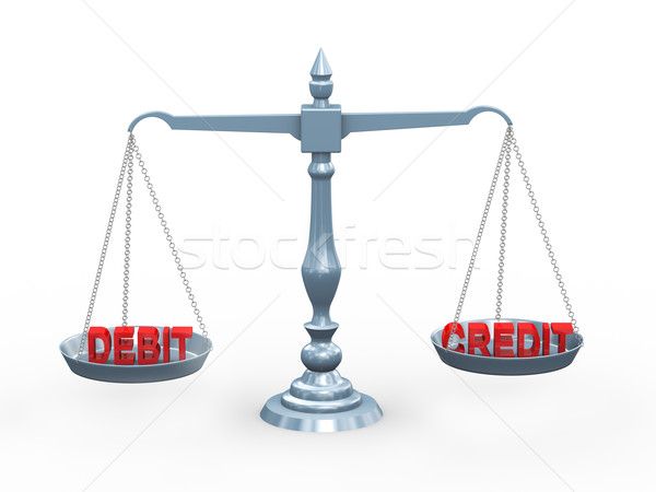 3d word debit and credit on scale Stock photo © ribah