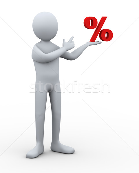 3d man and discount offer symbol Stock photo © ribah