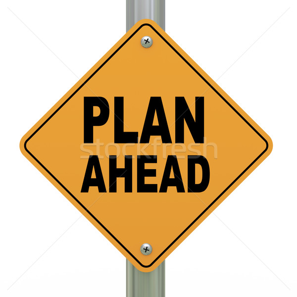 3d road sign plan ahead Stock photo © ribah