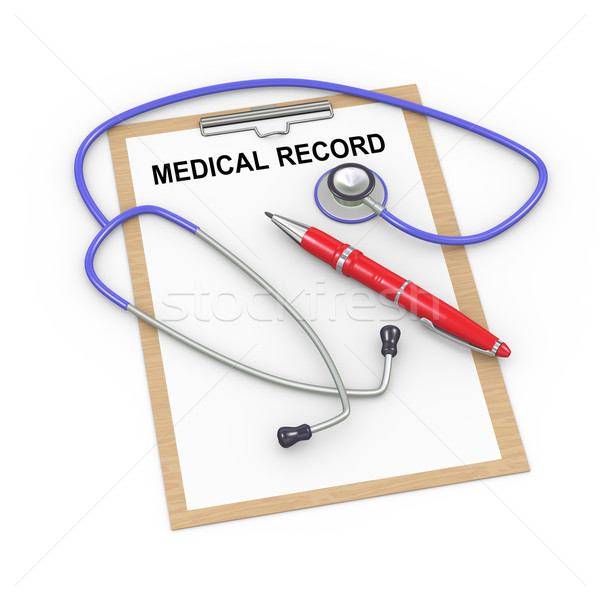 3d stethoscope and medical record Stock photo © ribah