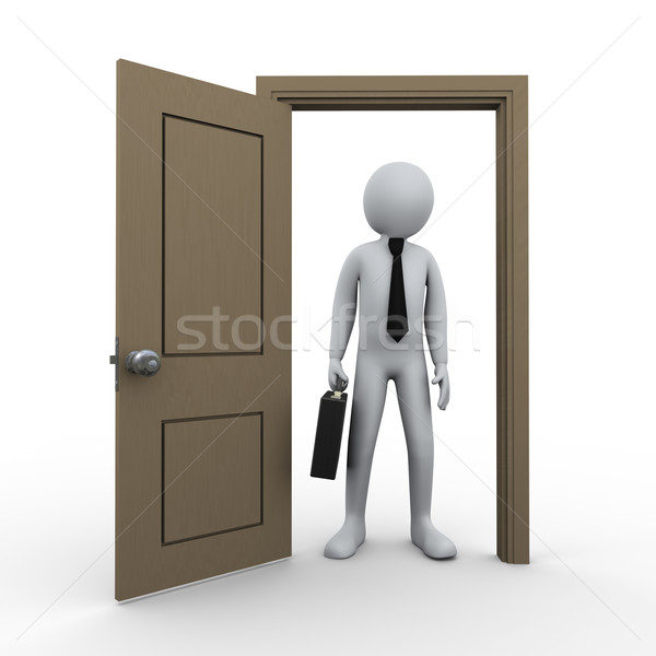 3D empresário abrir a porta ilustração 3d homem pasta Foto stock © ribah