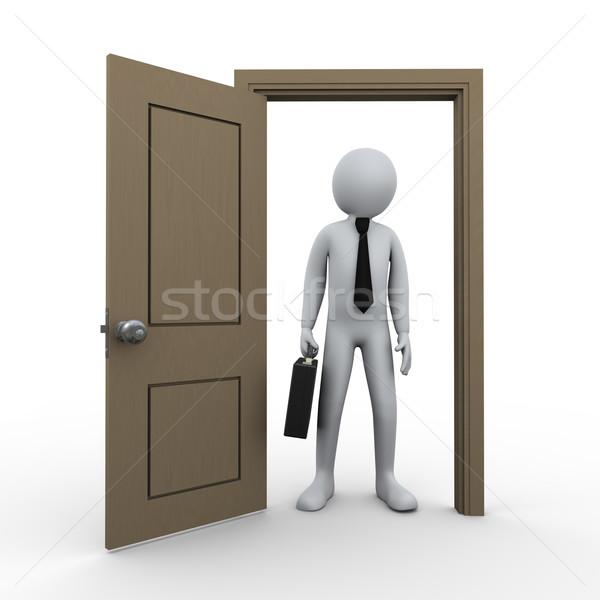 3d businessman and open door Stock photo © ribah