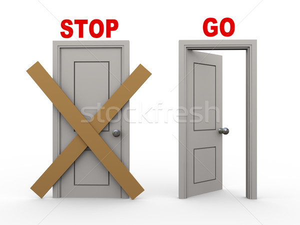 3d stop and go doors Stock photo © ribah