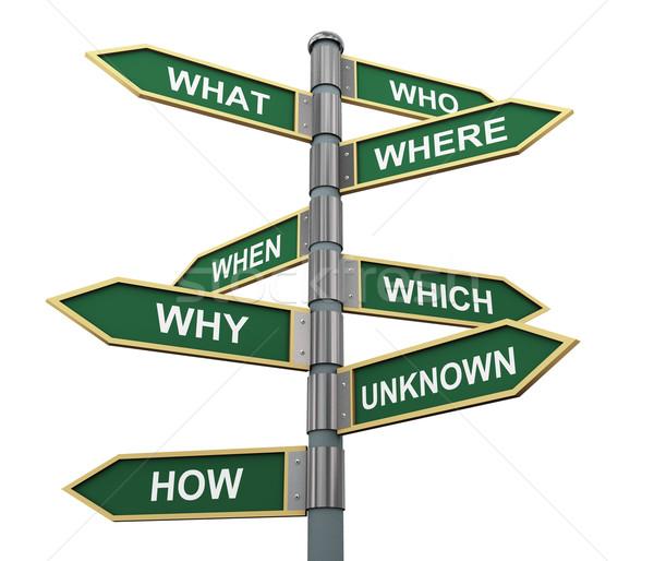 Sorular sözler yol işareti 3d illustration soru imzalamak Stok fotoğraf © ribah