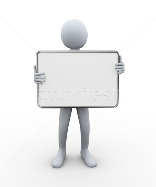 Stock photo: 3d man holding empty board