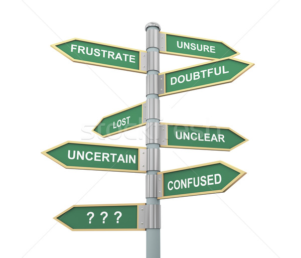Confusion words road sign Stock photo © ribah