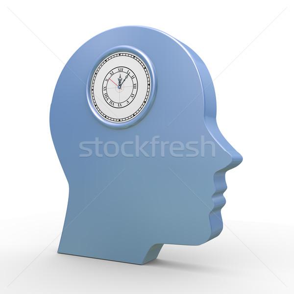 3d human head and clock Stock photo © ribah