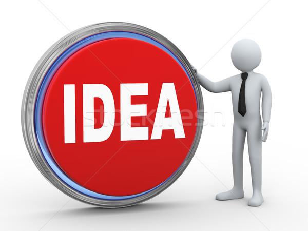3d businessman with idea button Stock photo © ribah
