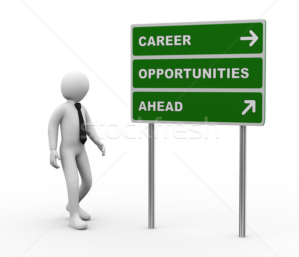 3d businessman career opportunities ahead roadsign Stock photo © ribah