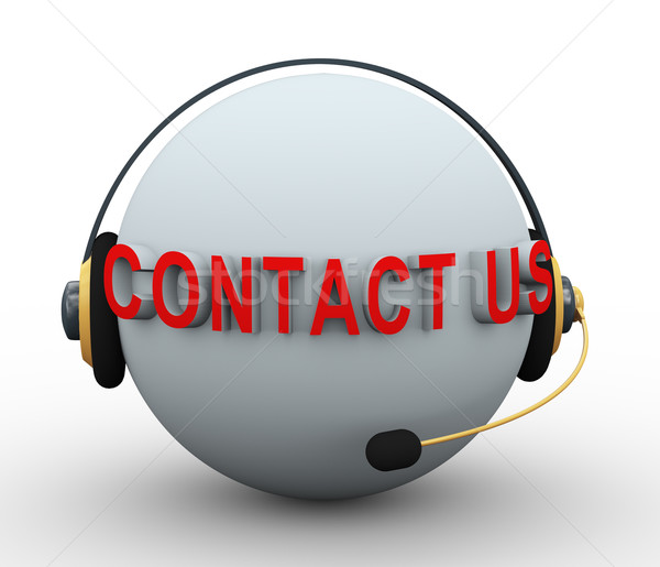 3d contact us sphere with headphone Stock photo © ribah