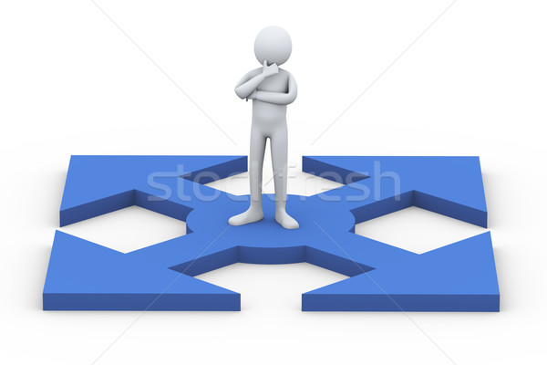 3d arrows path and confused man Stock photo © ribah