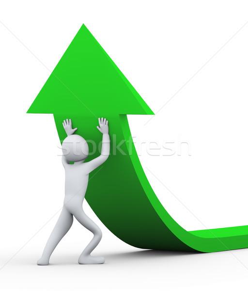 3d man pushing arrow upward Stock photo © ribah