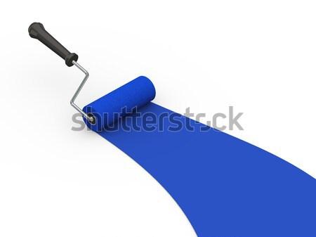 3d blue paint color roller brush Stock photo © ribah