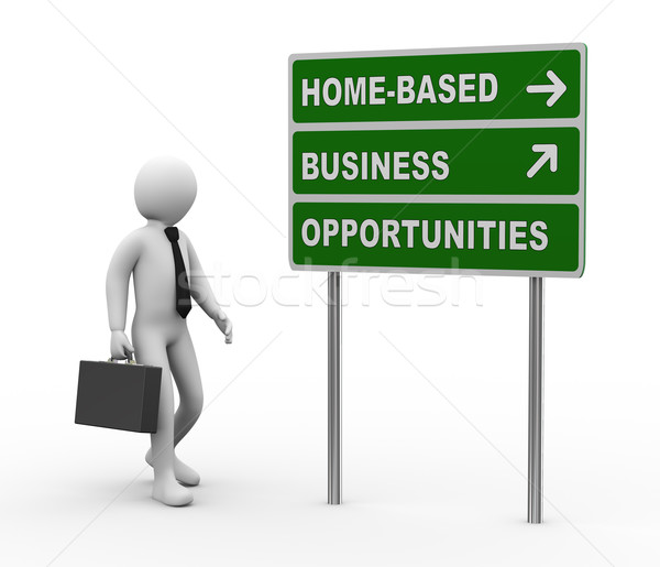 3d businessman home based business opportunities roadsign Stock photo © ribah