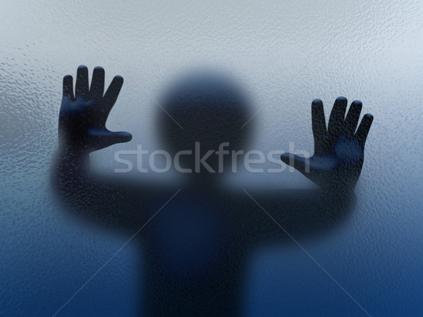 3d person shadow behind glass Stock photo © ribah