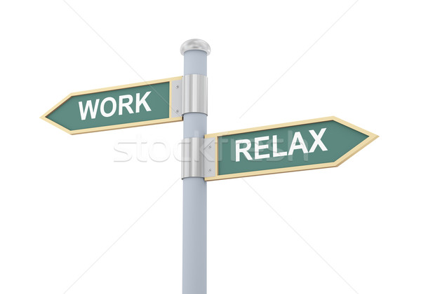 3d work relax road sign Stock photo © ribah
