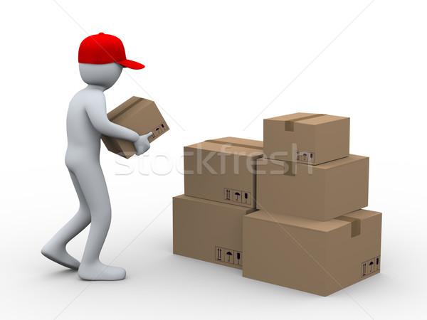 Stok fotoğraf: 3d · man · kutuları · 3d · illustration · kişi · karton