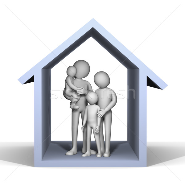 Stock photo: 3d family in house