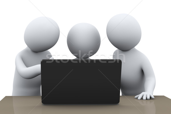 3d people centered around laptop Stock photo © ribah