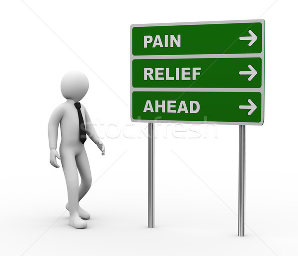 3d person pain relief ahead roadsign Stock photo © ribah