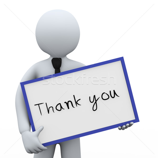 3d businessman and thank you board Stock photo © ribah