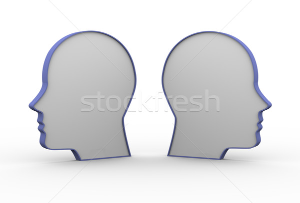 3d opposite human heads Stock photo © ribah