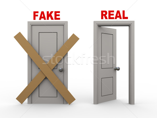 3d fake and real doors Stock photo © ribah