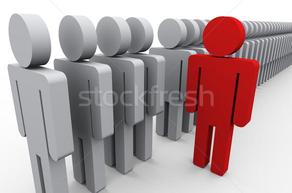 Multidão ilustração 3d único vermelho homem Foto stock © ribah